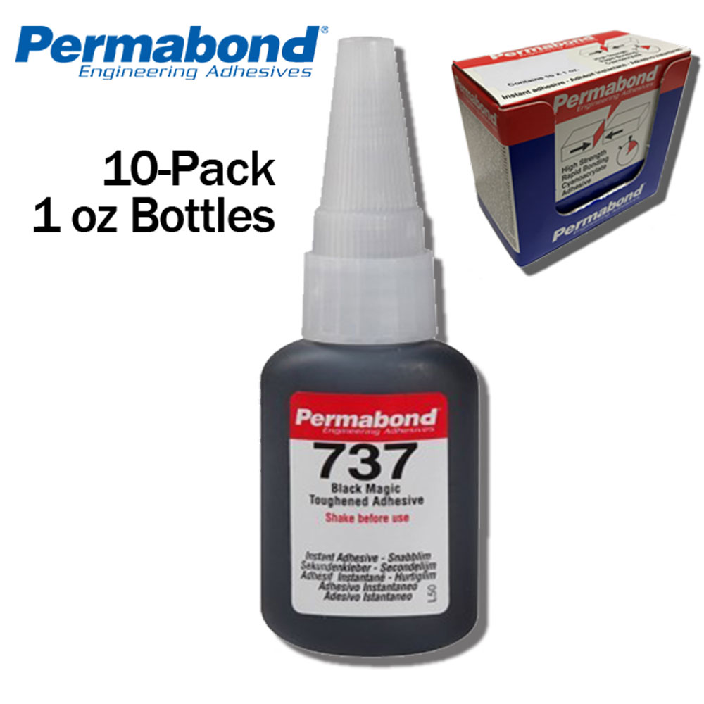 1oz Bottle Black Magic Toughened Flexible Temp-resistant Gel Permabond 737