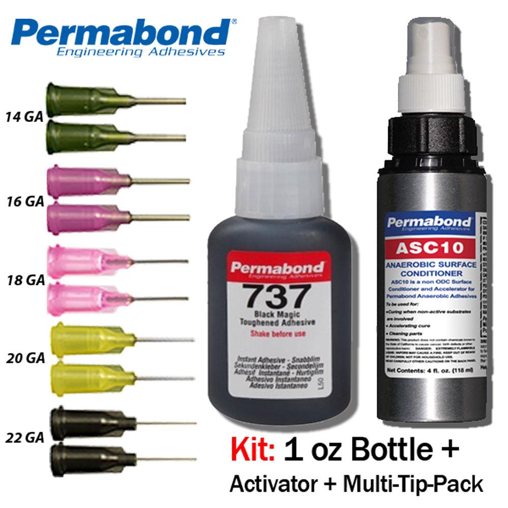 1oz 10-pack+asc10 Permabond 737 Black Magic Toughened Temp-resistant Gel