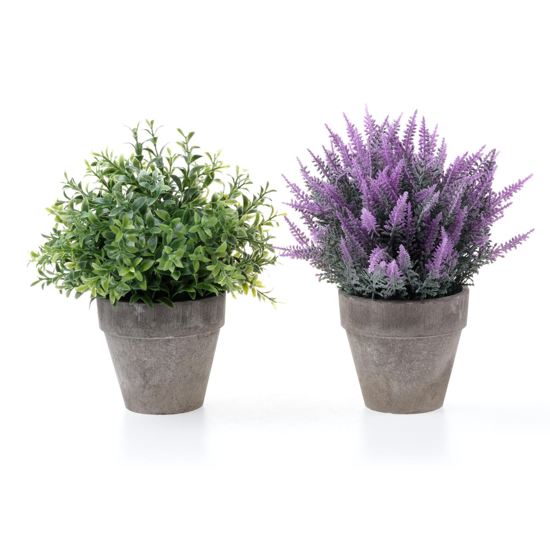 2x artificial plastics pulp potted lavender flowers decorative plants pot 6 2cm ebay. Black Bedroom Furniture Sets. Home Design Ideas
