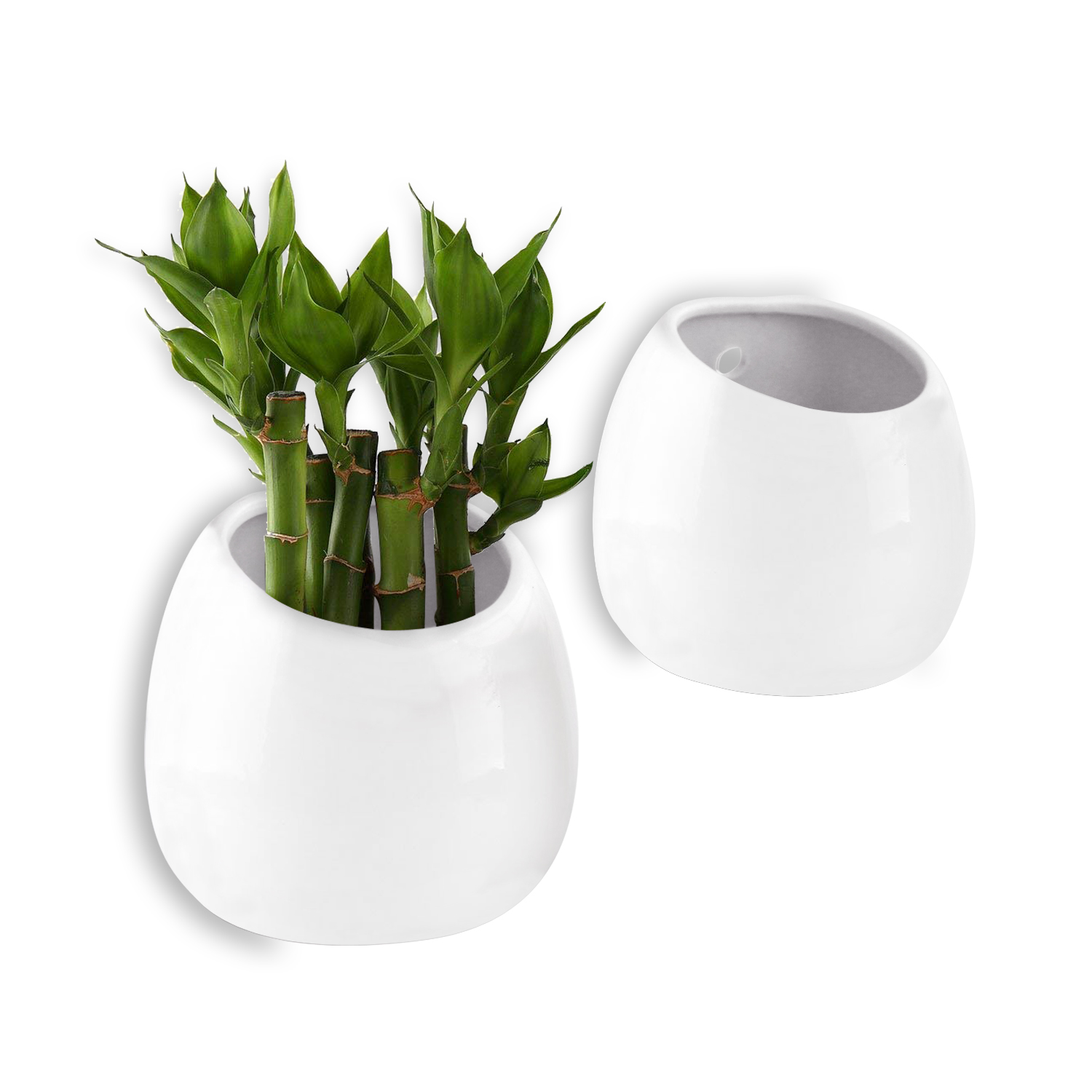2x White 3 9 Quot Wall Mounted Hanging Planter Ceramic