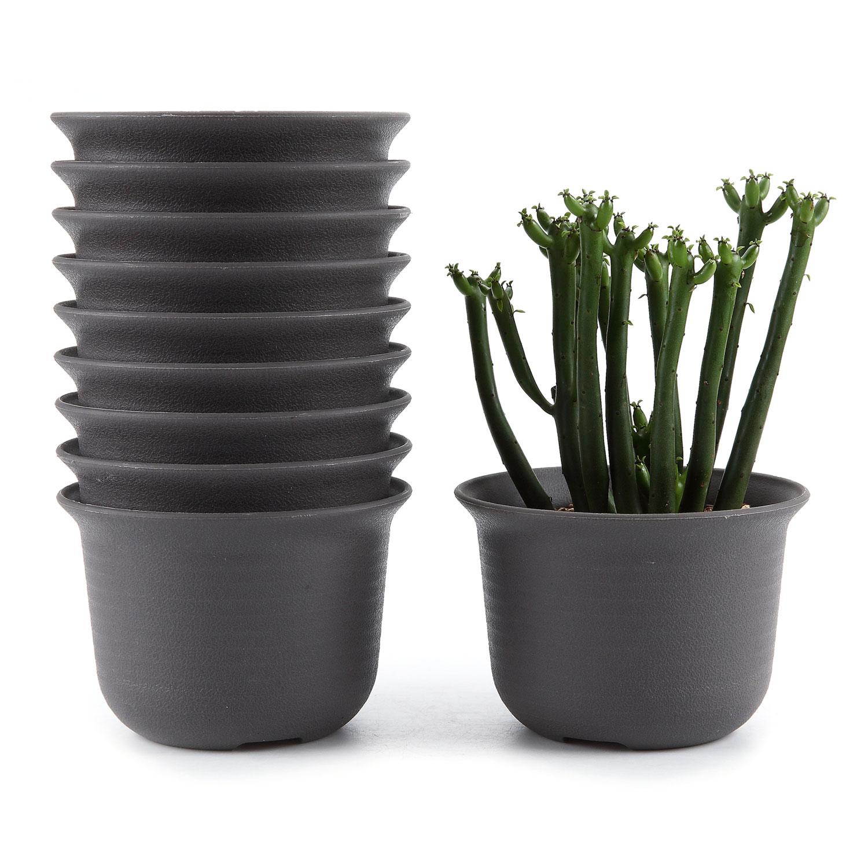 10x 4.25 Inch Black Plastic Round Succulent Plant Pot/cactus Flower Planter T4u