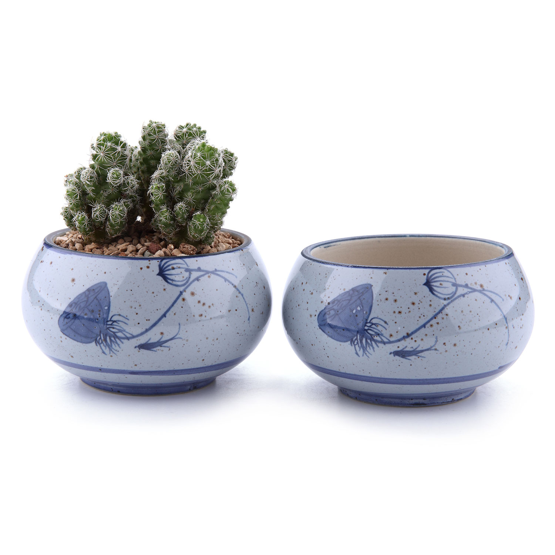 2x Japanese Blue Plant Pot Succulent Cactus Style Ceramic Pots