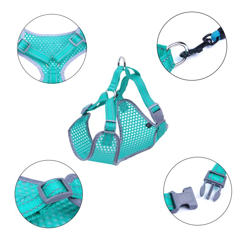 Breathable-Mesh-Puppy-Dog-Harness-Vest-Adjustable-Soft-Walk-Collar-No-Pull thumbnail 12