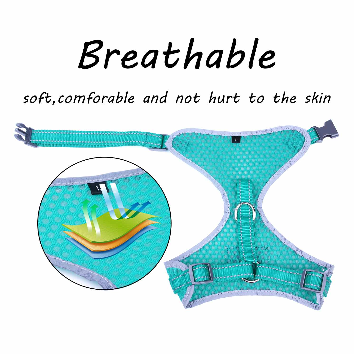 Breathable-Mesh-Puppy-Dog-Harness-Vest-Adjustable-Soft-Walk-Collar-No-Pull thumbnail 13