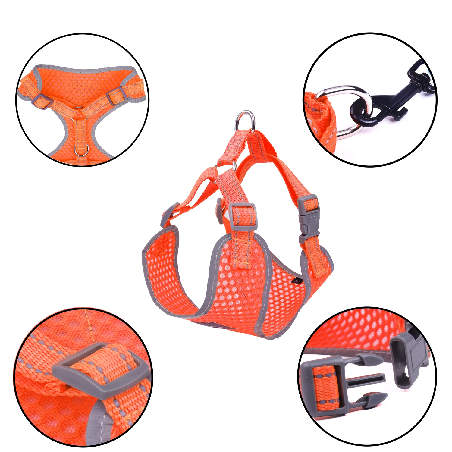 Breathable-Mesh-Puppy-Dog-Harness-Vest-Adjustable-Soft-Walk-Collar-No-Pull thumbnail 18