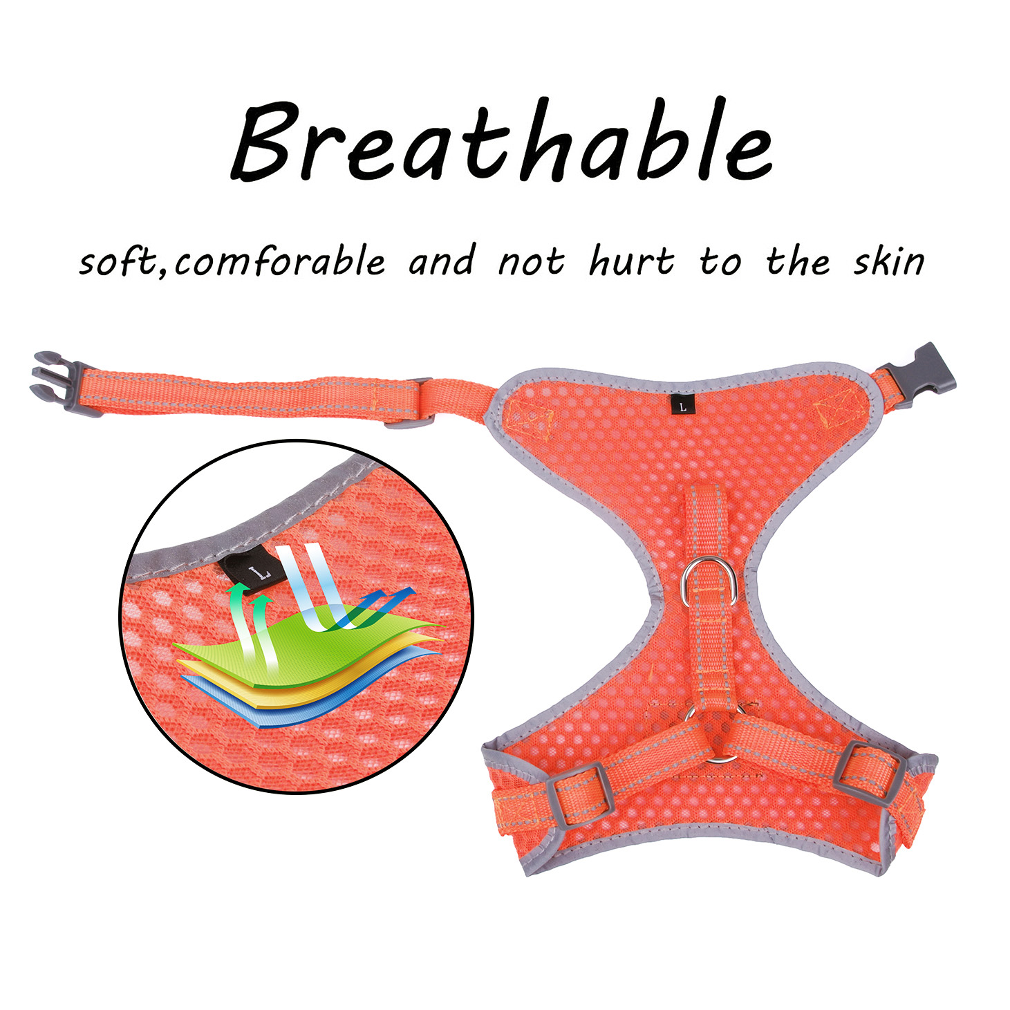 Breathable-Mesh-Puppy-Dog-Harness-Vest-Adjustable-Soft-Walk-Collar-No-Pull thumbnail 19