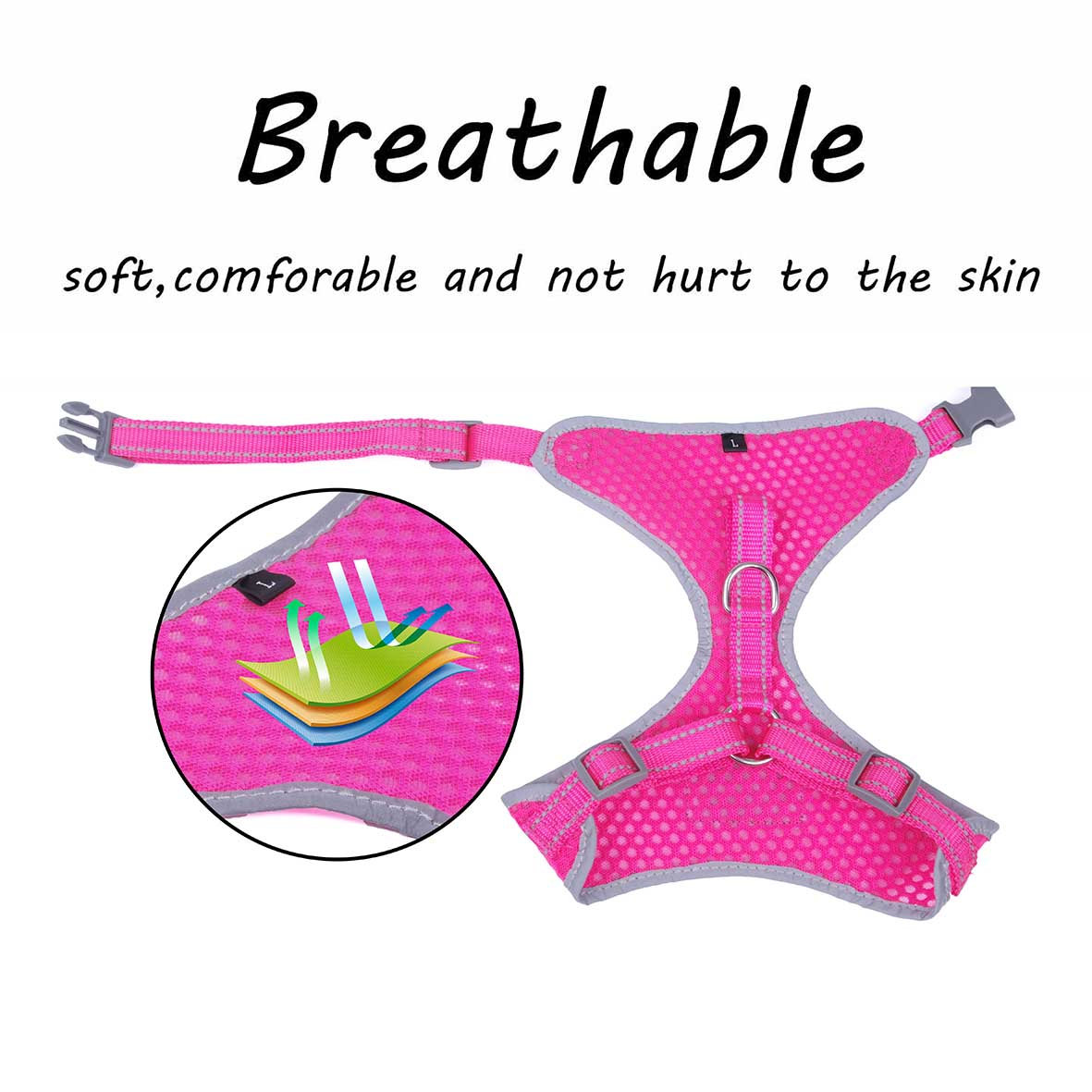 Breathable-Mesh-Puppy-Dog-Harness-Vest-Adjustable-Soft-Walk-Collar-No-Pull thumbnail 26