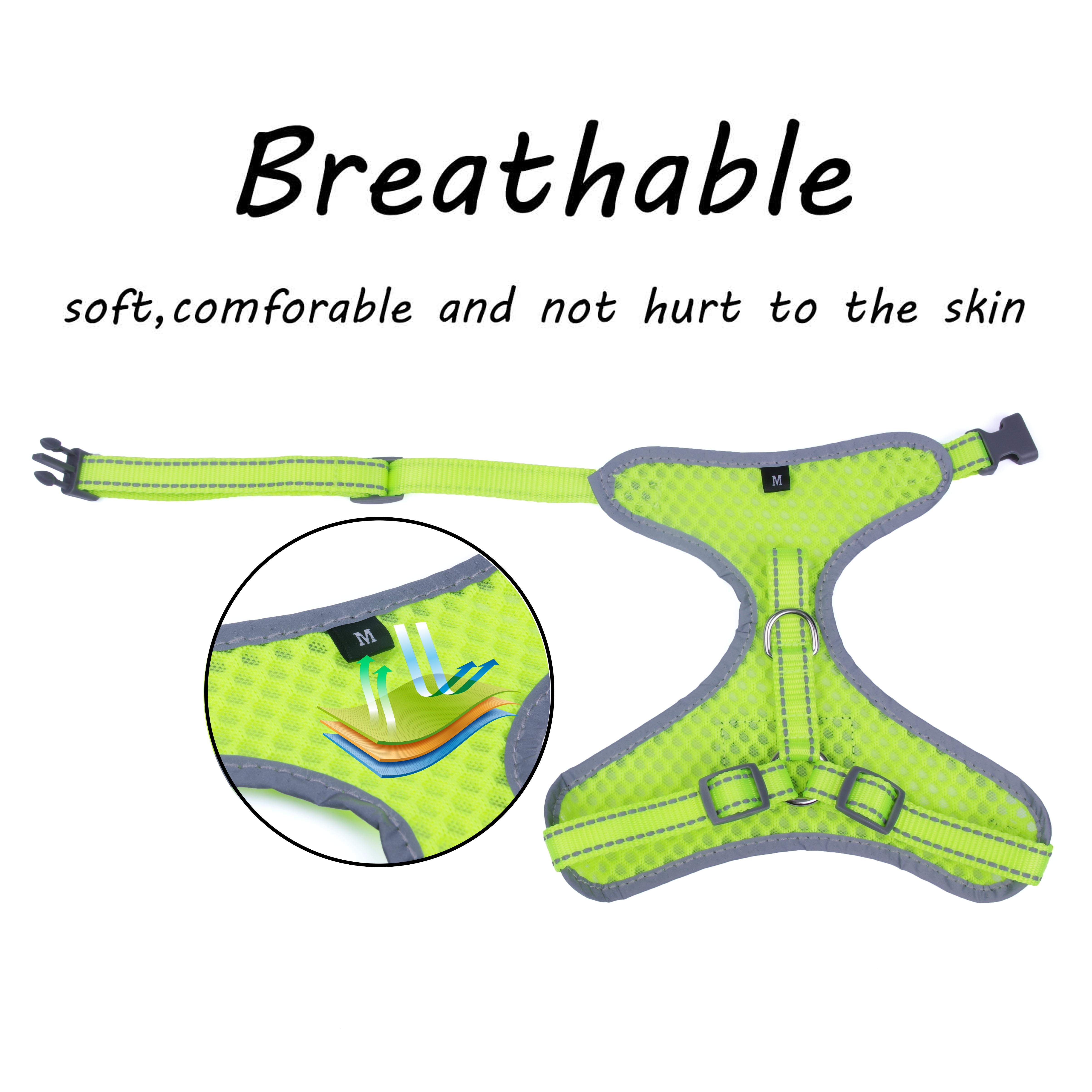 Breathable-Mesh-Puppy-Dog-Harness-Vest-Adjustable-Soft-Walk-Collar-No-Pull thumbnail 33