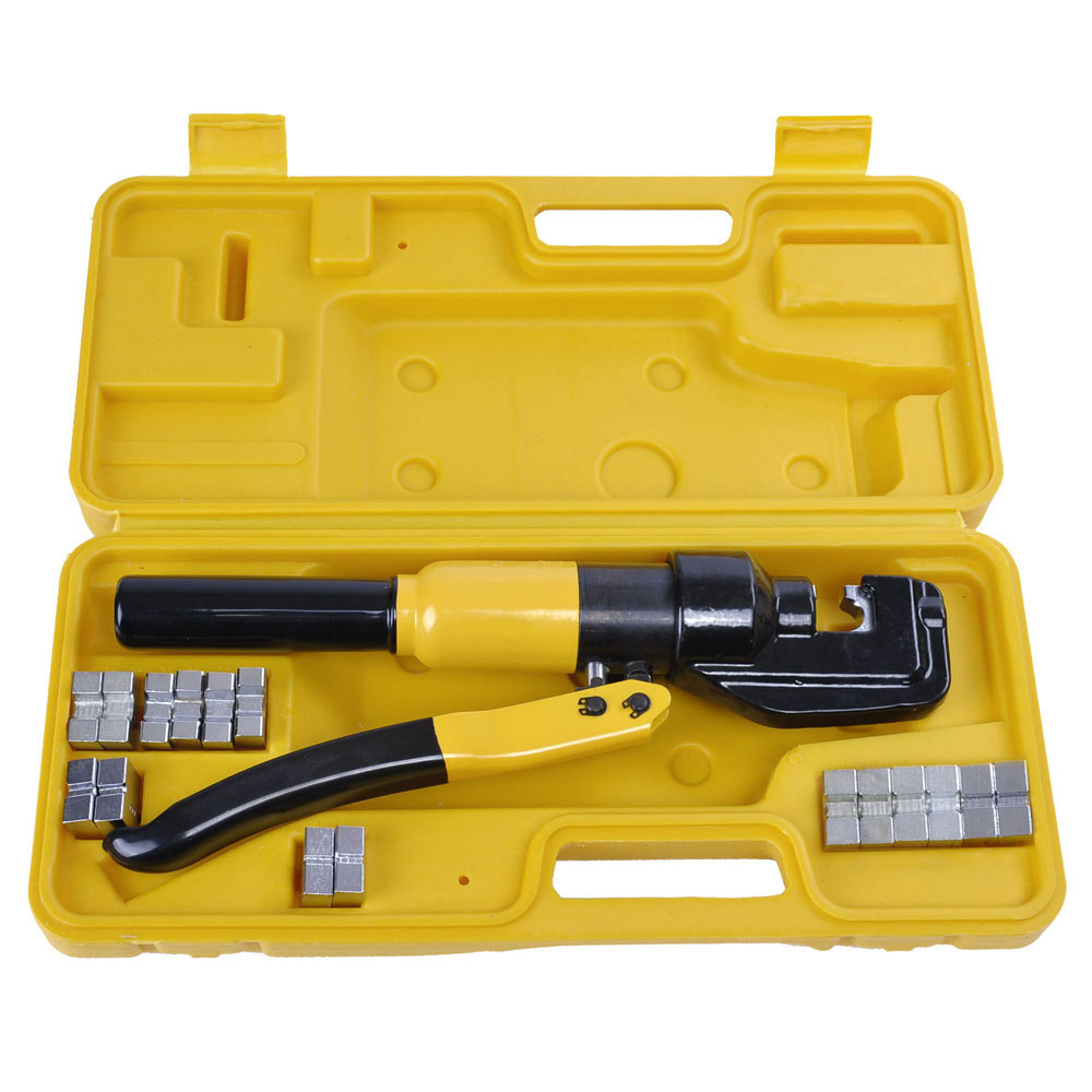 8 10 ton hydraulic wire crimper 9 dies lug cable force crimping tool kit 4 70mm. Black Bedroom Furniture Sets. Home Design Ideas