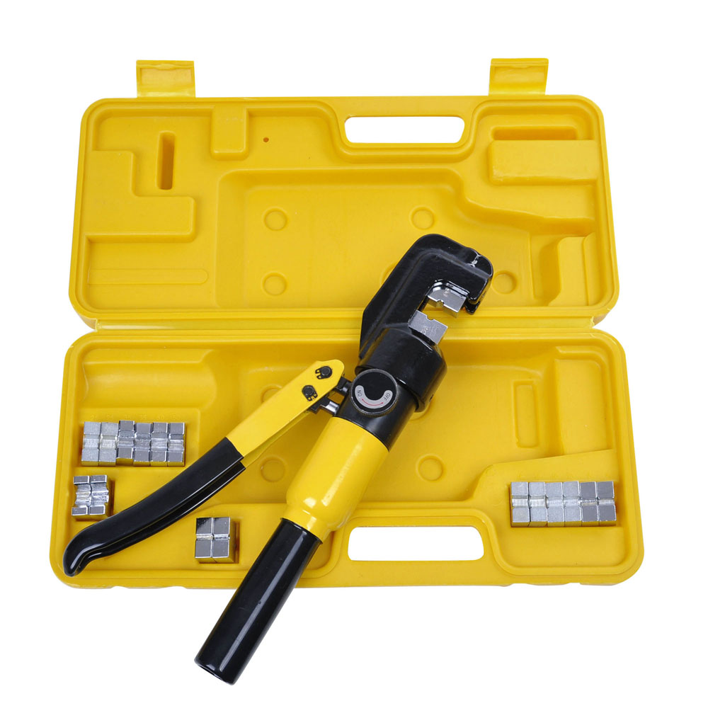 8 10 ton hydraulic wire crimper 9 dies lug cable force crimping tool kit 4 70mm ebay. Black Bedroom Furniture Sets. Home Design Ideas