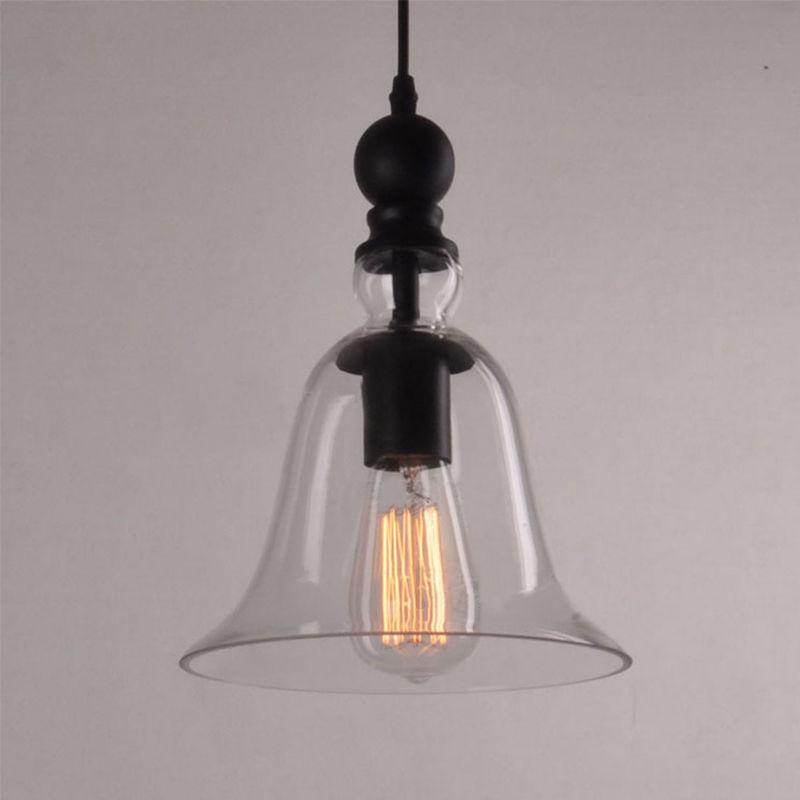 Industrial Bell Pendant Light: Vintage Retro Clear Glass Lighting Wall Lamp Pendant Light