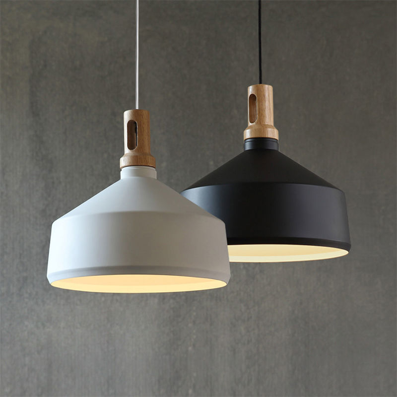 Contemporary Pendant Light Funnel Wooden Ceiling Lighting
