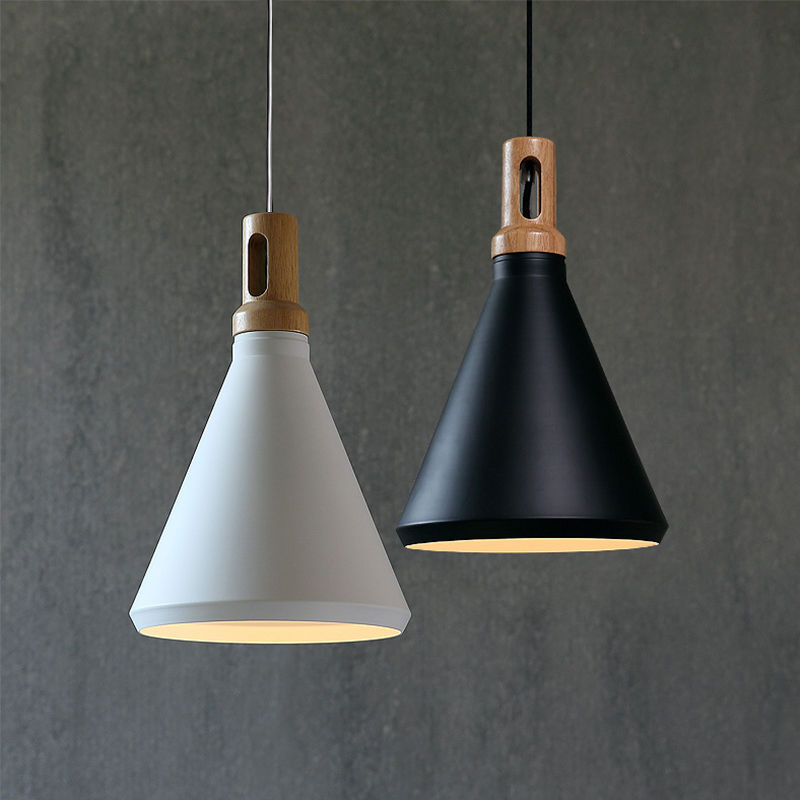 Contemporary Pendant Light Funnel Wooden Ceiling lighting ...