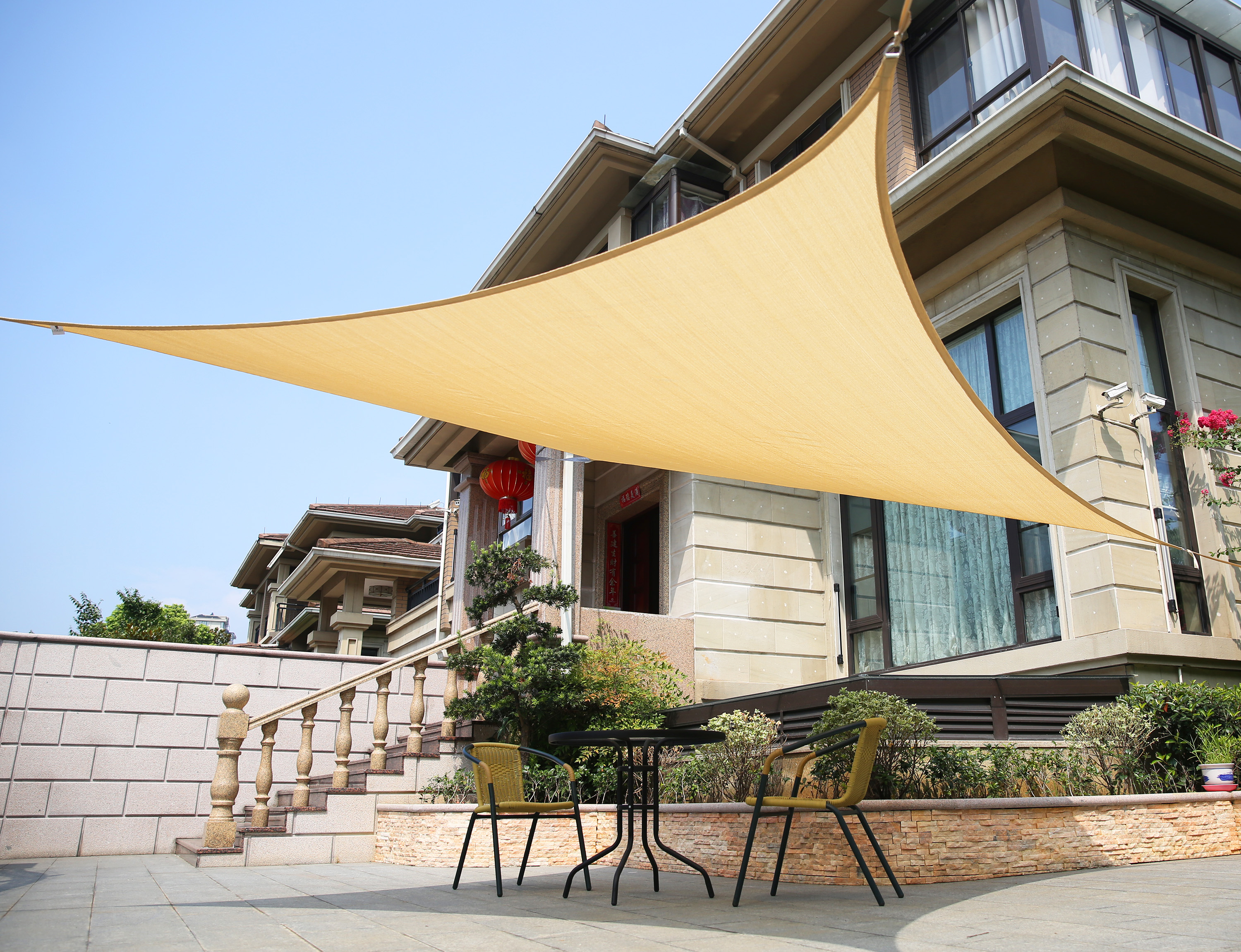 lyshade 12 39 square sun shade sail canopy uv block patio lawn outdoor ebay. Black Bedroom Furniture Sets. Home Design Ideas