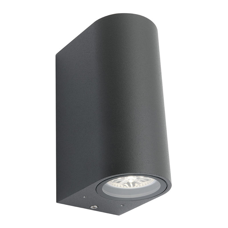 Exterior Wall Light Up Down Gray Charcoal Curve Oval