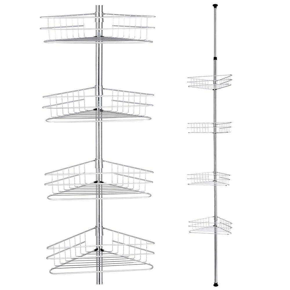 4 Tier Metal Telescopic Shelf Wall Corner Bathroom Caddy Storage ...