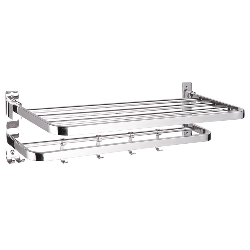304 Stainless Steel Double Towel Rail Rack Shelf Wall
