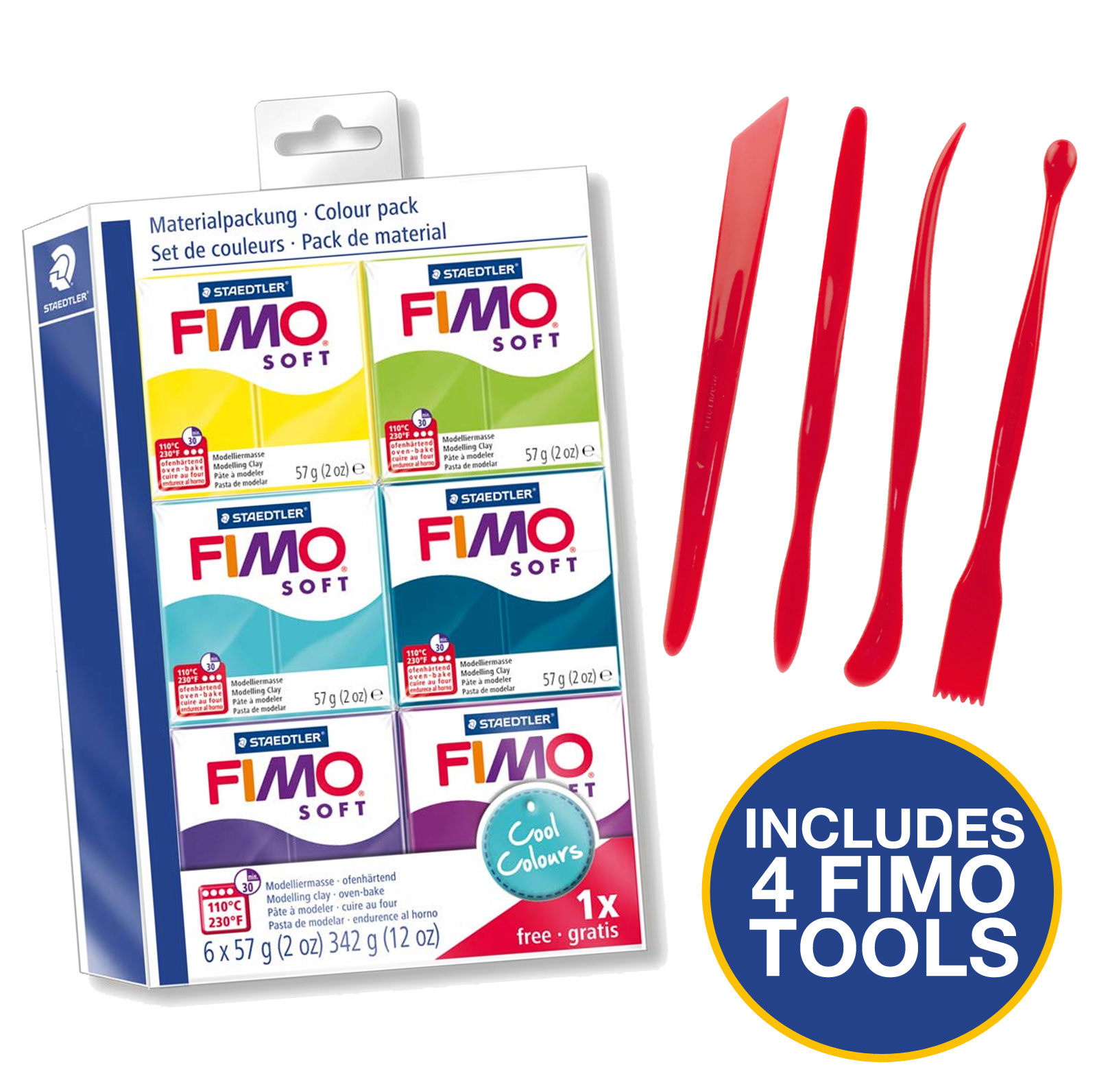 Starter set 6 x 56g Blocks in assorted Colours Fimo Oven Bake Clay by Fimo