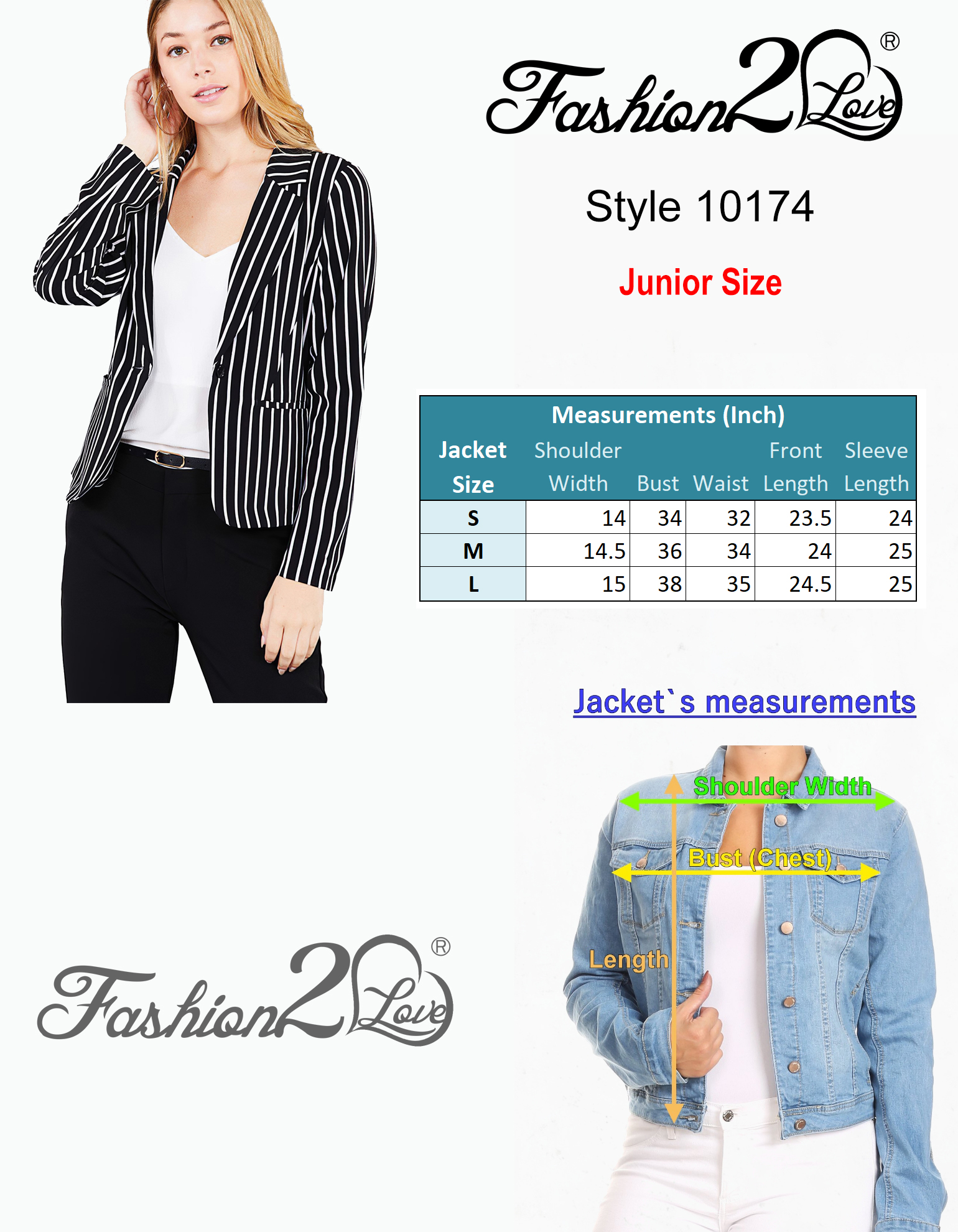 Women-039-s-Juniors-Premium-Stretch-Striped-Long-Sleeve-Jacket thumbnail 8