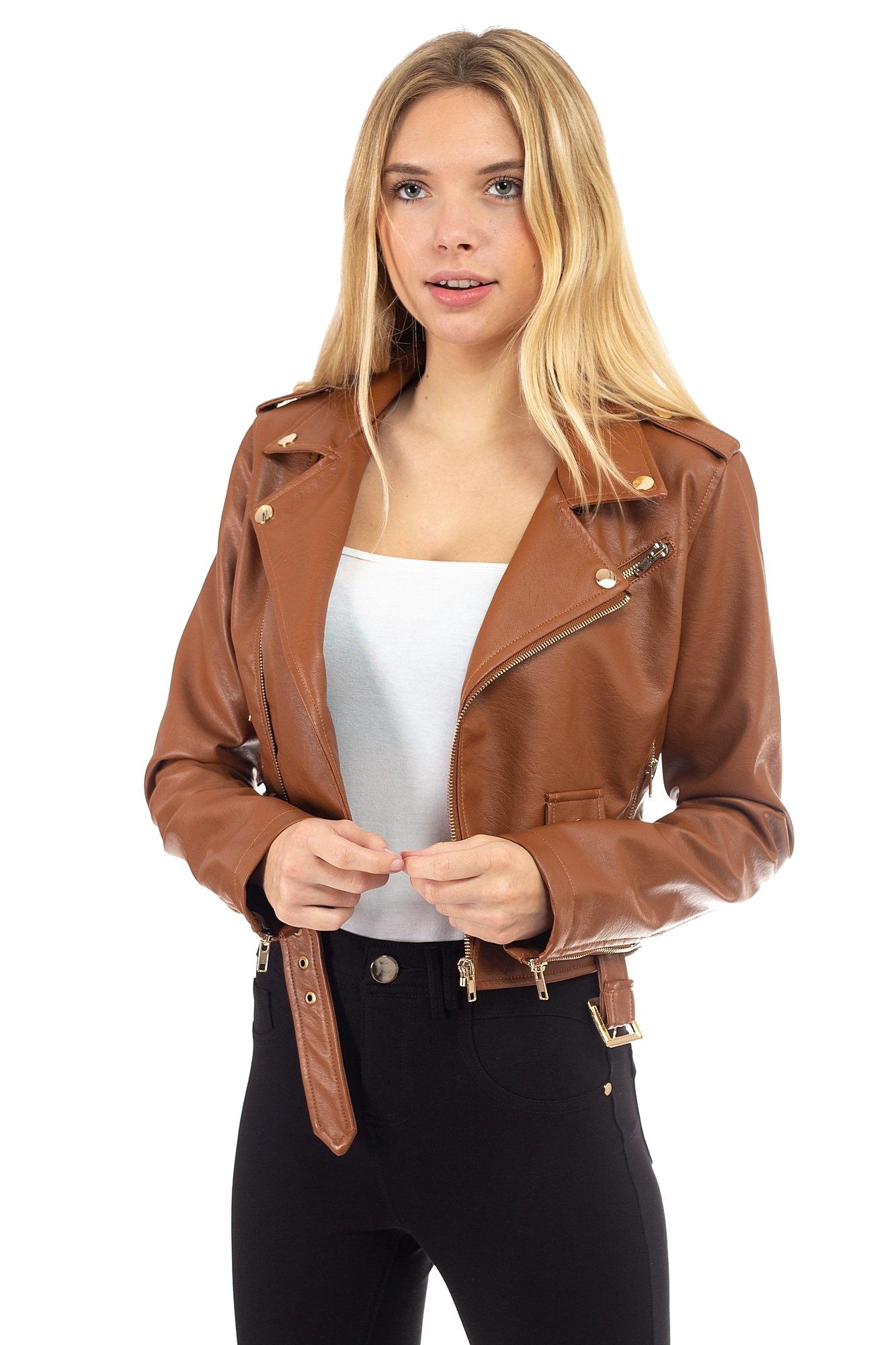 Women-039-s-Juniors-Fashionable-Cropped-Faux-Leather-Moto-Biker-Jacket thumbnail 24
