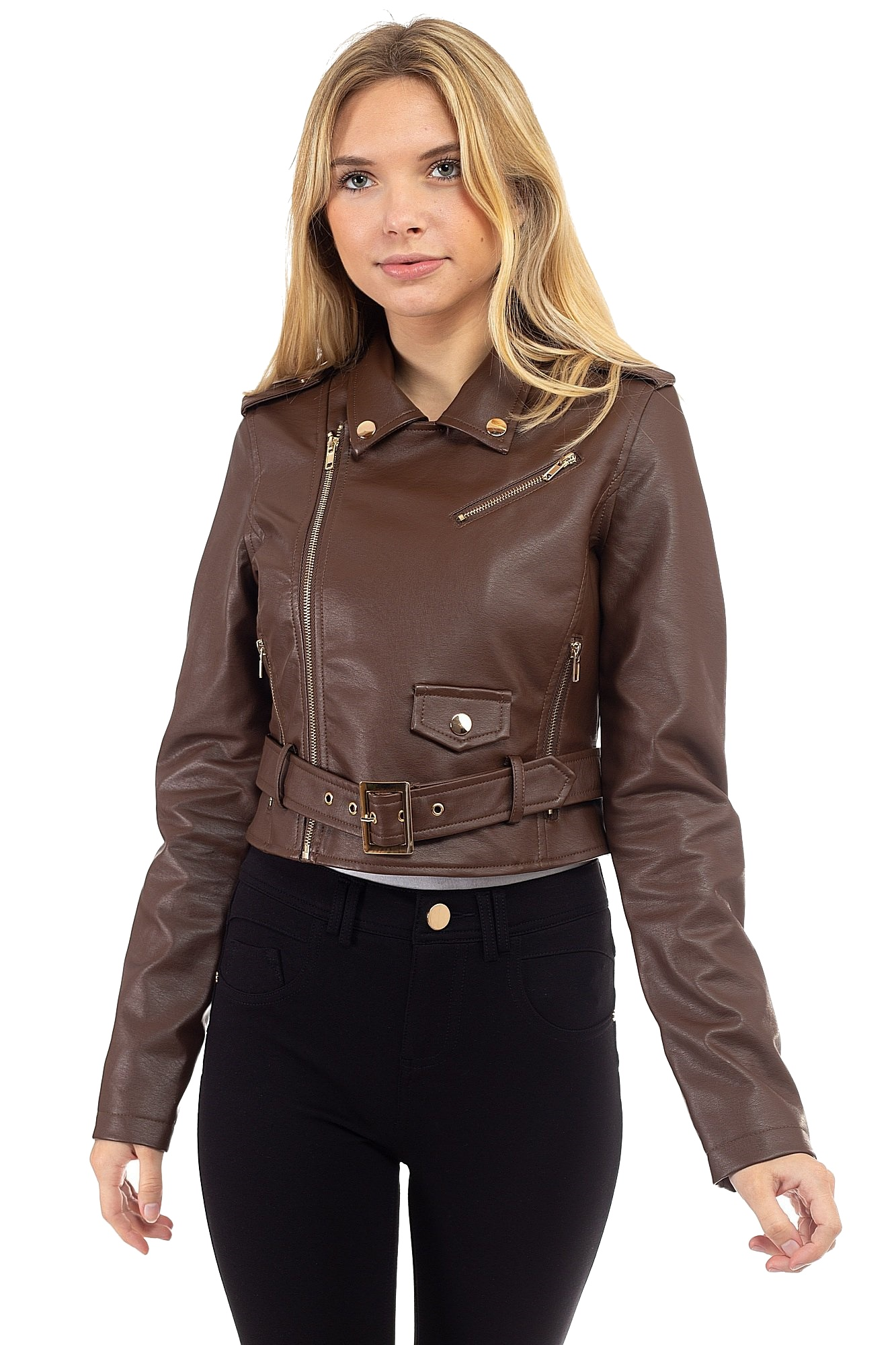 Women-039-s-Juniors-Fashionable-Cropped-Faux-Leather-Moto-Biker-Jacket thumbnail 38