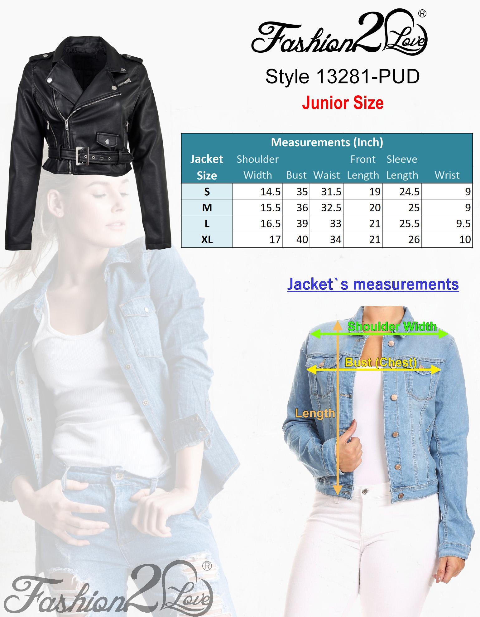 Women-039-s-Juniors-Fashionable-Cropped-Faux-Leather-Moto-Biker-Jacket thumbnail 12