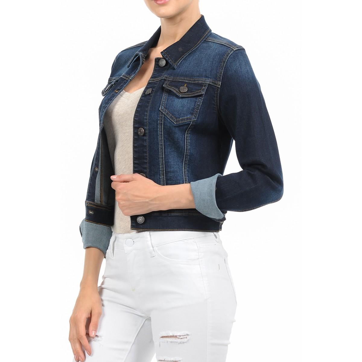 Women-039-s-Plus-Size-Cropped-Denim-Jackets-Long-Sleeve-Jean-Coats thumbnail 5