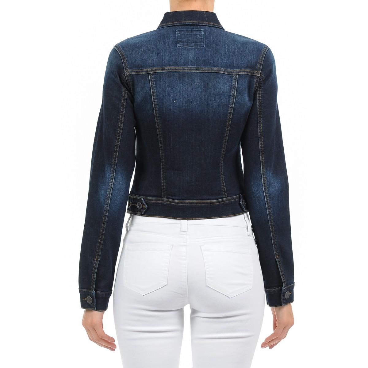 Women-039-s-Plus-Size-Cropped-Denim-Jackets-Long-Sleeve-Jean-Coats thumbnail 6