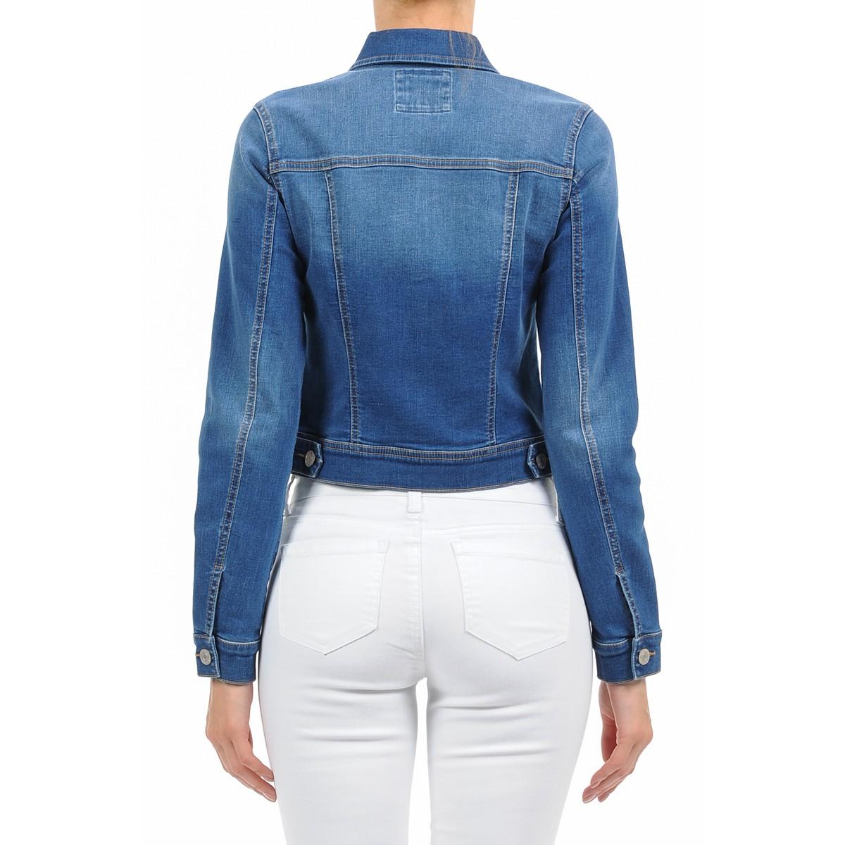 Women-039-s-Plus-Size-Cropped-Denim-Jackets-Long-Sleeve-Jean-Coats thumbnail 9