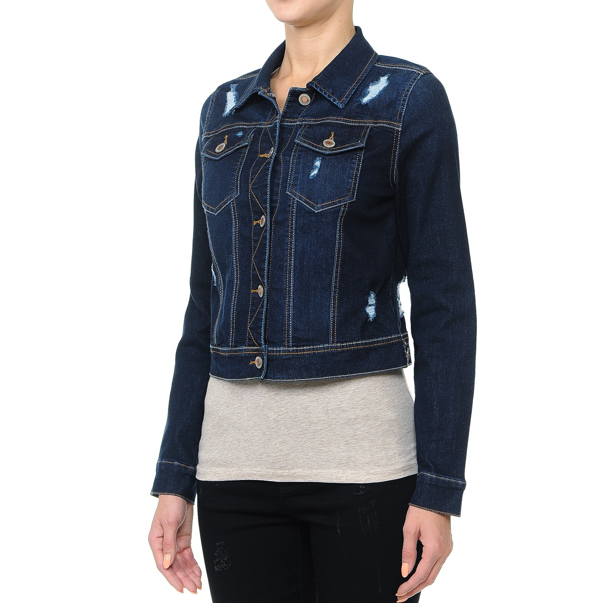 Women-s-Plus-Junior-size-Cropped-Ripped-Denim-Jackets-Long-Sleeve-Jean-Coats thumbnail 6
