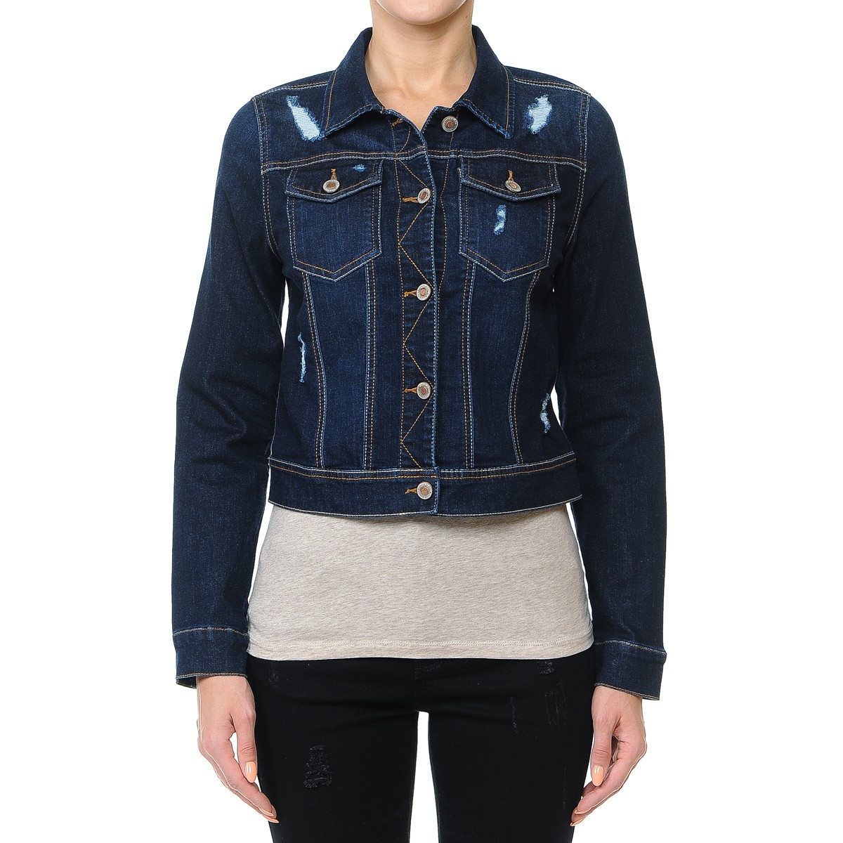 Women-s-Plus-Junior-size-Cropped-Ripped-Denim-Jackets-Long-Sleeve-Jean-Coats thumbnail 7