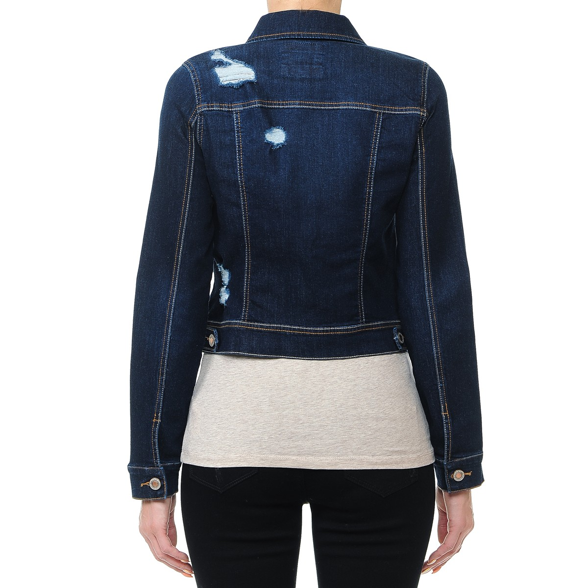 Women-s-Plus-Junior-size-Cropped-Ripped-Denim-Jackets-Long-Sleeve-Jean-Coats thumbnail 8