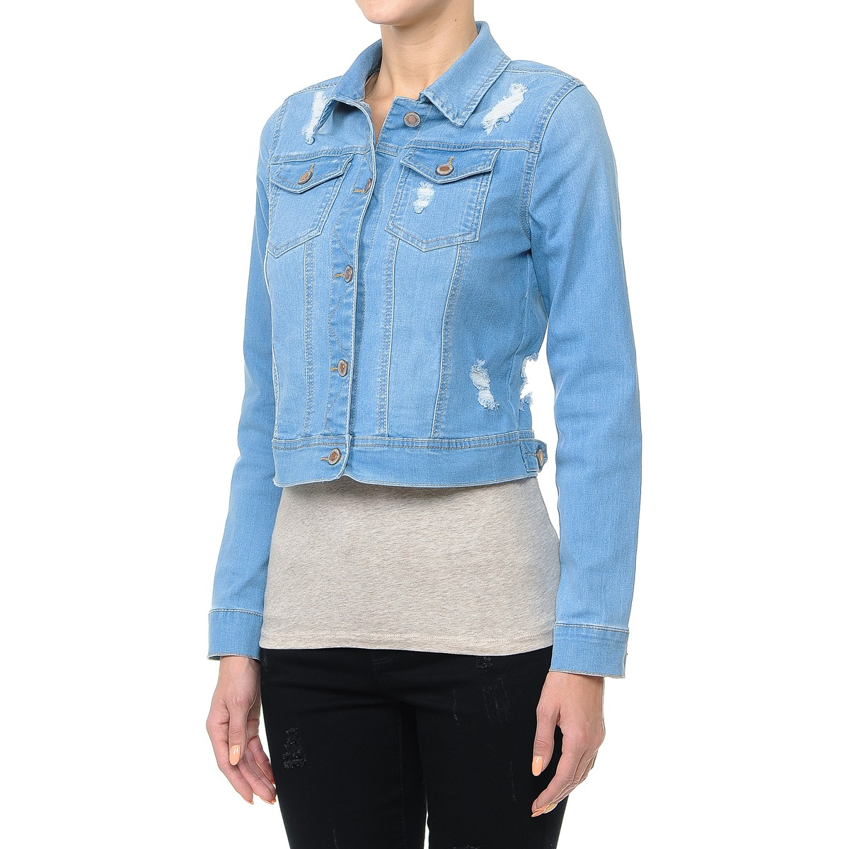 Women-s-Plus-Junior-size-Cropped-Ripped-Denim-Jackets-Long-Sleeve-Jean-Coats thumbnail 11