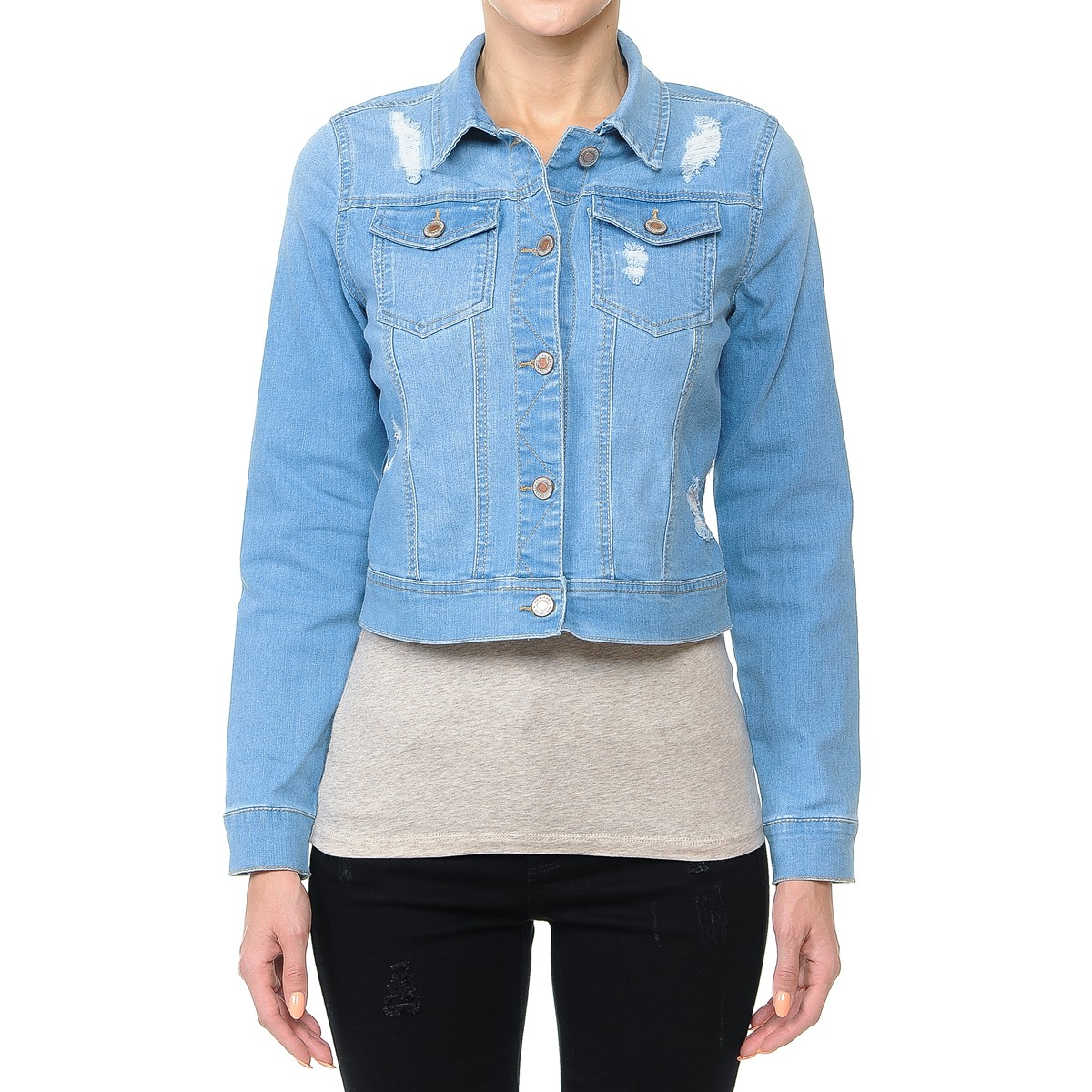 Women-s-Plus-Junior-size-Cropped-Ripped-Denim-Jackets-Long-Sleeve-Jean-Coats thumbnail 12