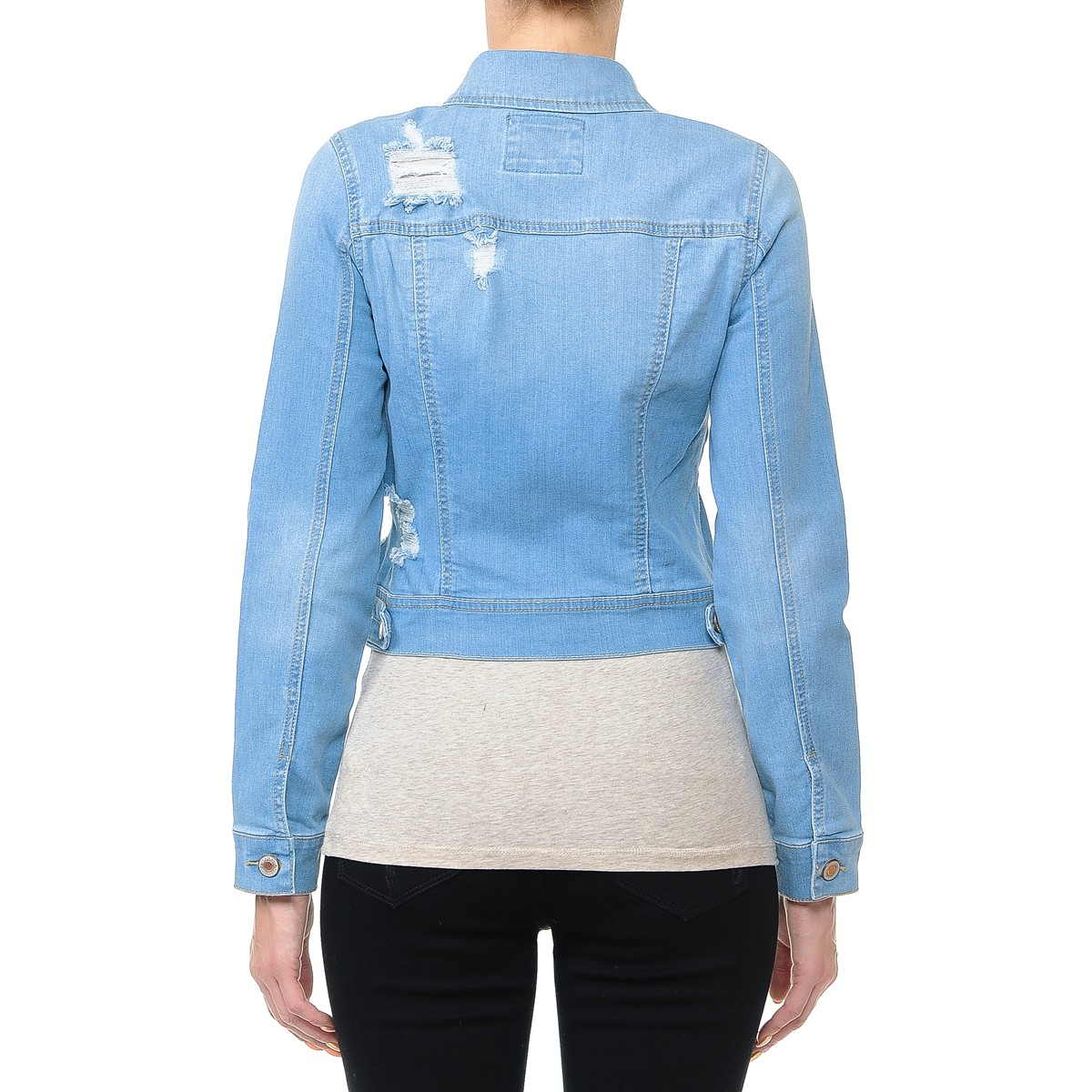 Women-s-Plus-Junior-size-Cropped-Ripped-Denim-Jackets-Long-Sleeve-Jean-Coats thumbnail 13