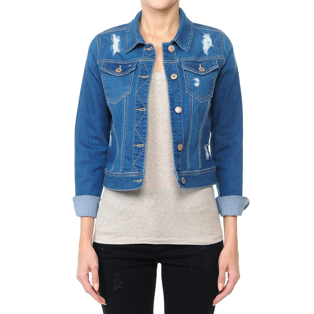 Women-s-Plus-Junior-size-Cropped-Ripped-Denim-Jackets-Long-Sleeve-Jean-Coats thumbnail 17
