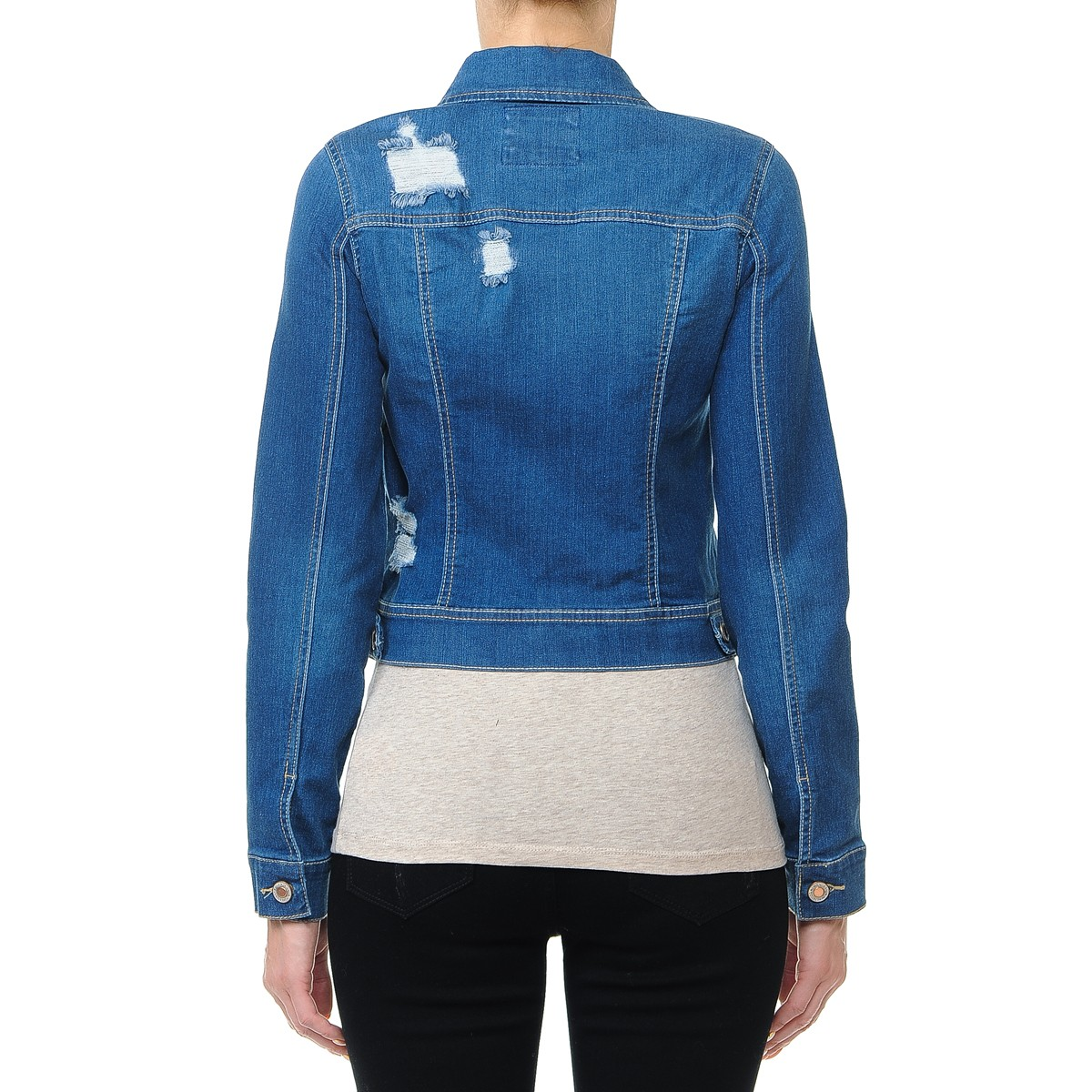 Women-s-Plus-Junior-size-Cropped-Ripped-Denim-Jackets-Long-Sleeve-Jean-Coats thumbnail 19
