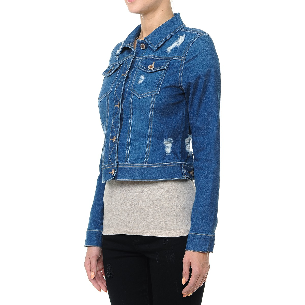 Women-s-Plus-Junior-size-Cropped-Ripped-Denim-Jackets-Long-Sleeve-Jean-Coats thumbnail 16