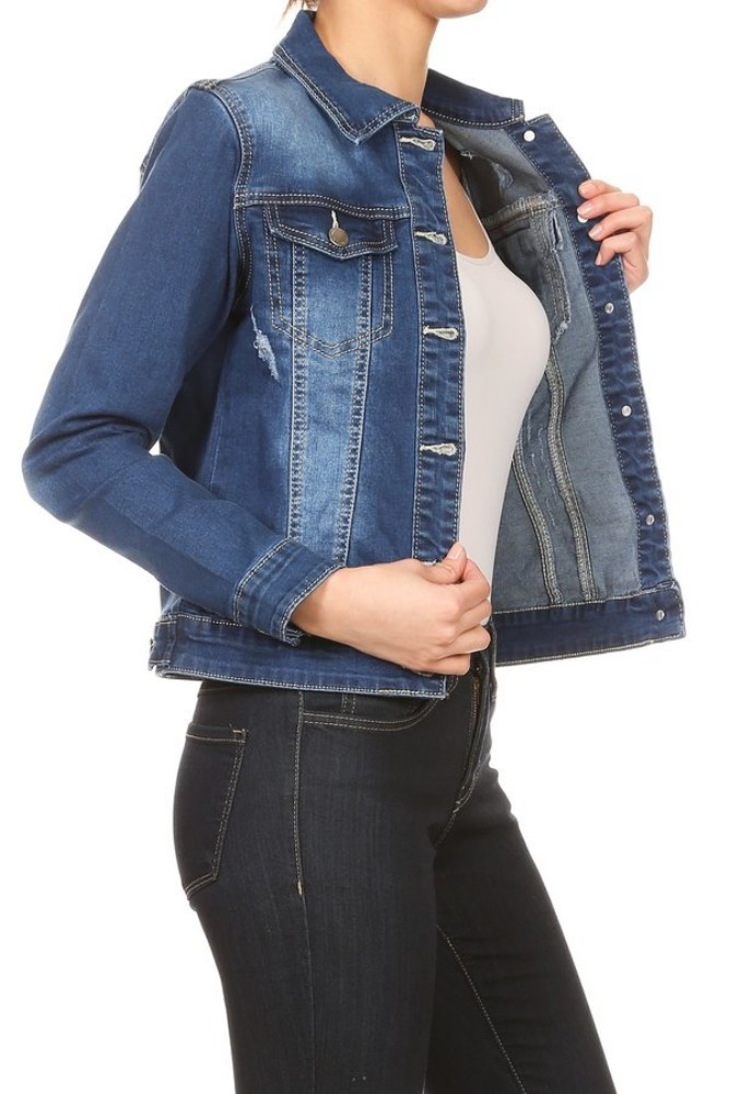 Women-s-Juniors-Premium-Stretch-Denim-Long-Sleeve-Jacket thumbnail 14