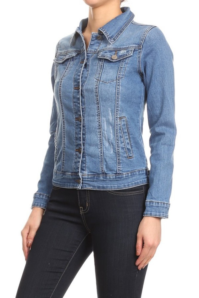 Women-s-Juniors-Premium-Stretch-Denim-Long-Sleeve-Jacket thumbnail 9