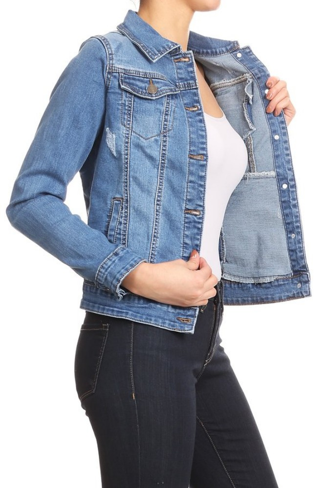 Women-s-Juniors-Premium-Stretch-Denim-Long-Sleeve-Jacket thumbnail 10
