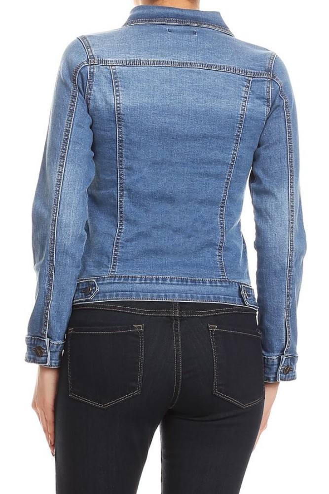 Women-s-Juniors-Premium-Stretch-Denim-Long-Sleeve-Jacket thumbnail 11