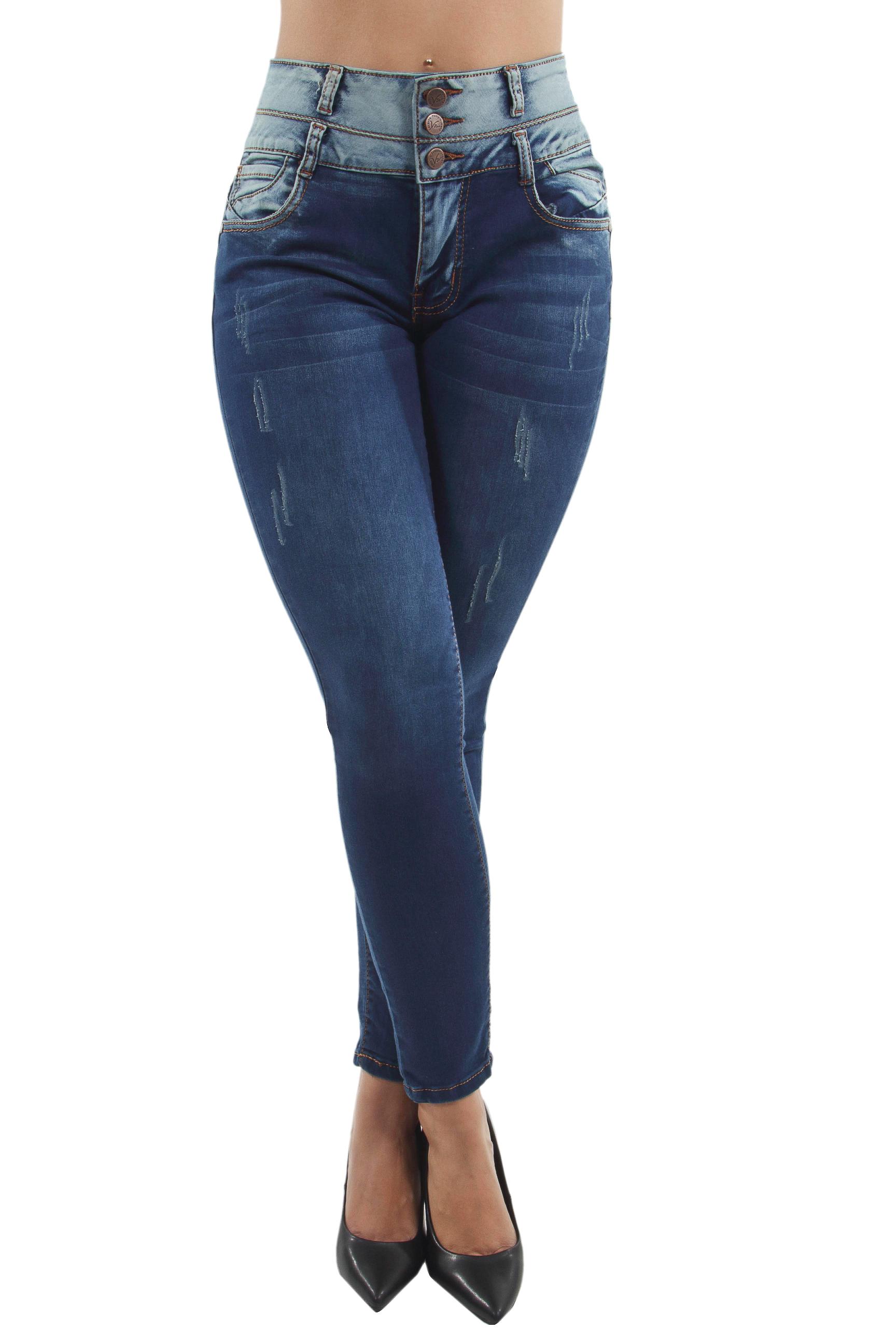 Women/'s Juniors Colombian Design Skinny Jeans Butt Lift Mid Waist Push Up