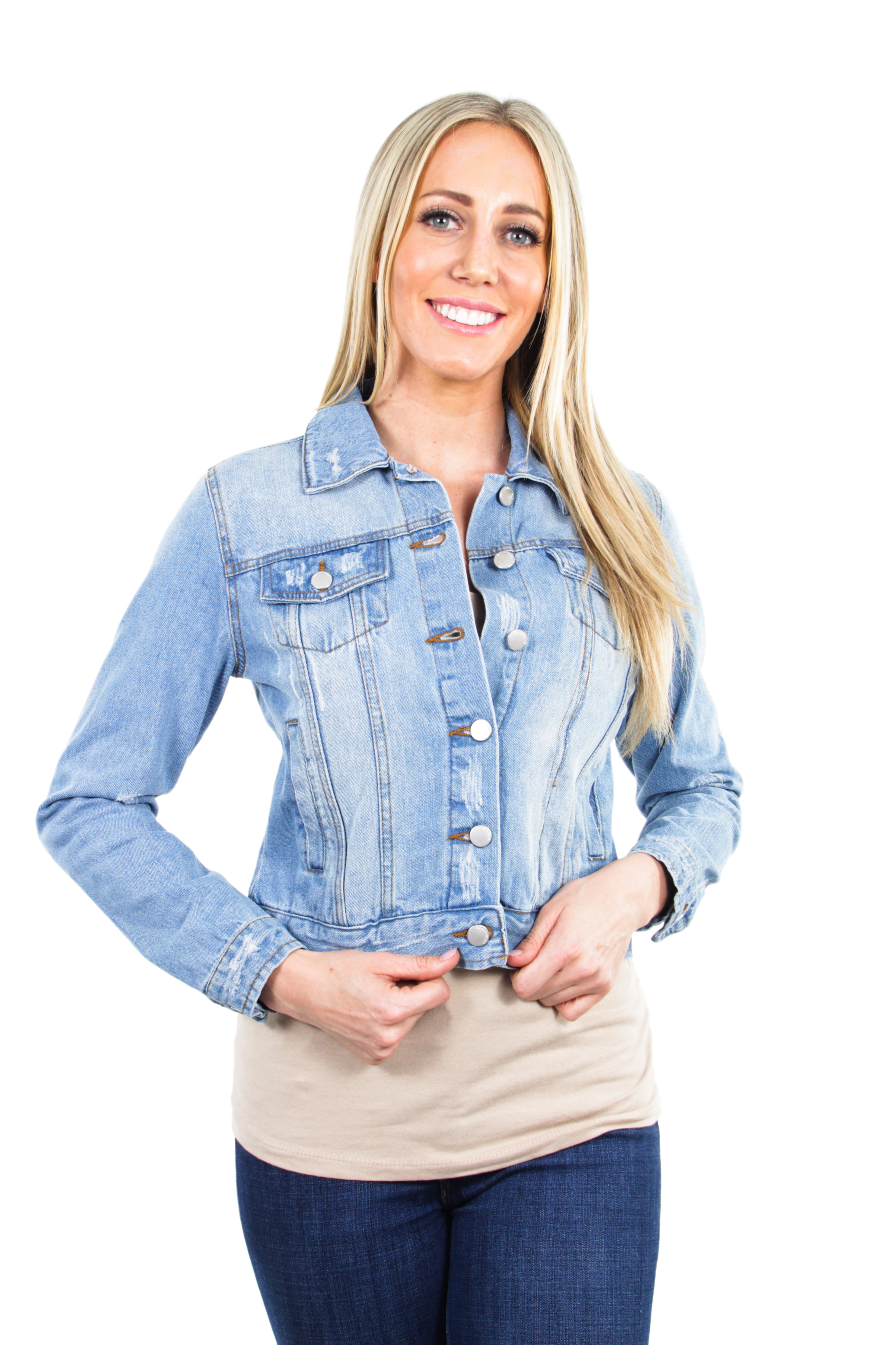 Women-039-s-Juniors-Premium-Distressed-Denim-Long-Sleeve-Jacket thumbnail 8