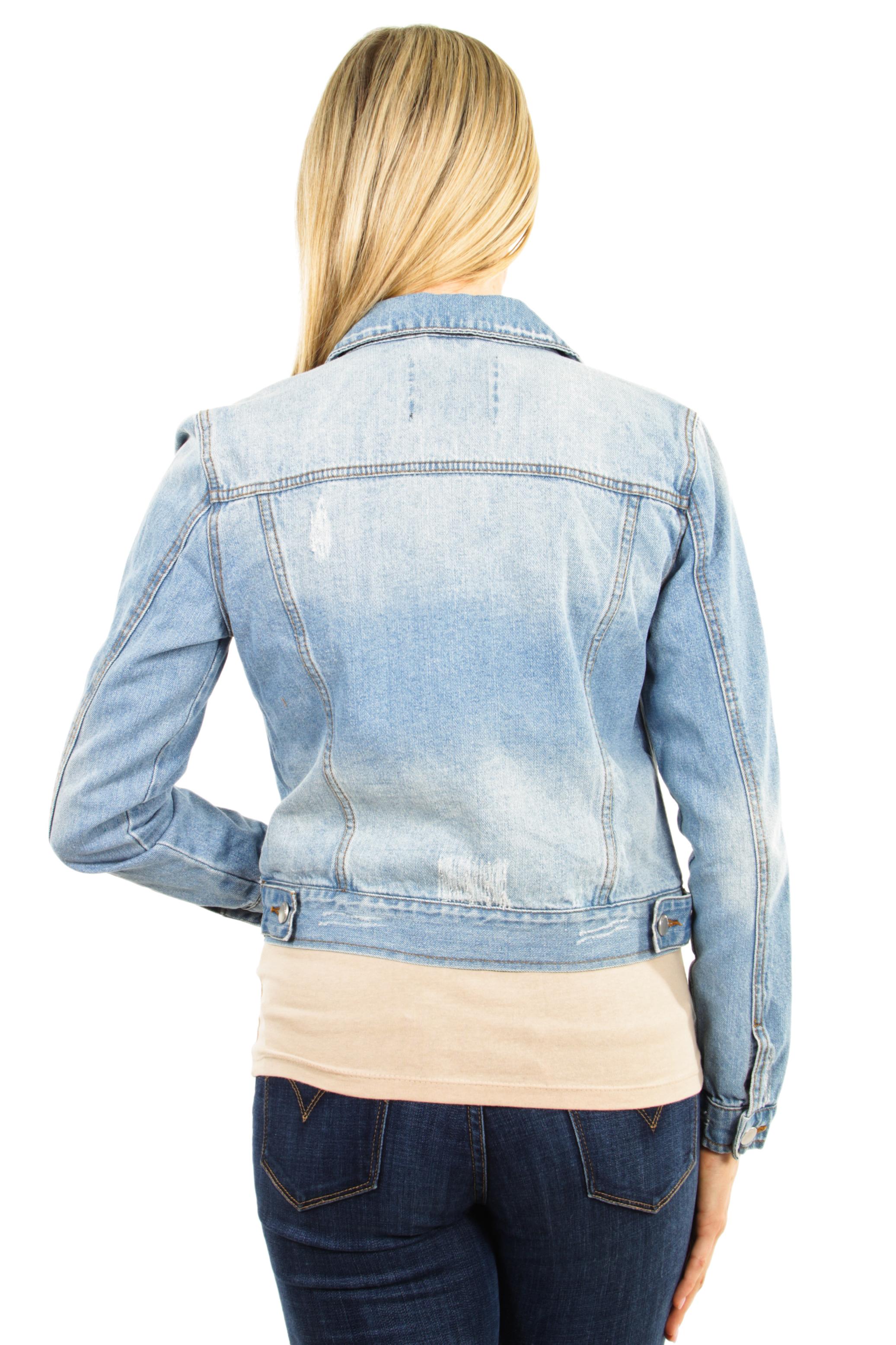 Women-039-s-Juniors-Premium-Distressed-Denim-Long-Sleeve-Jacket thumbnail 9