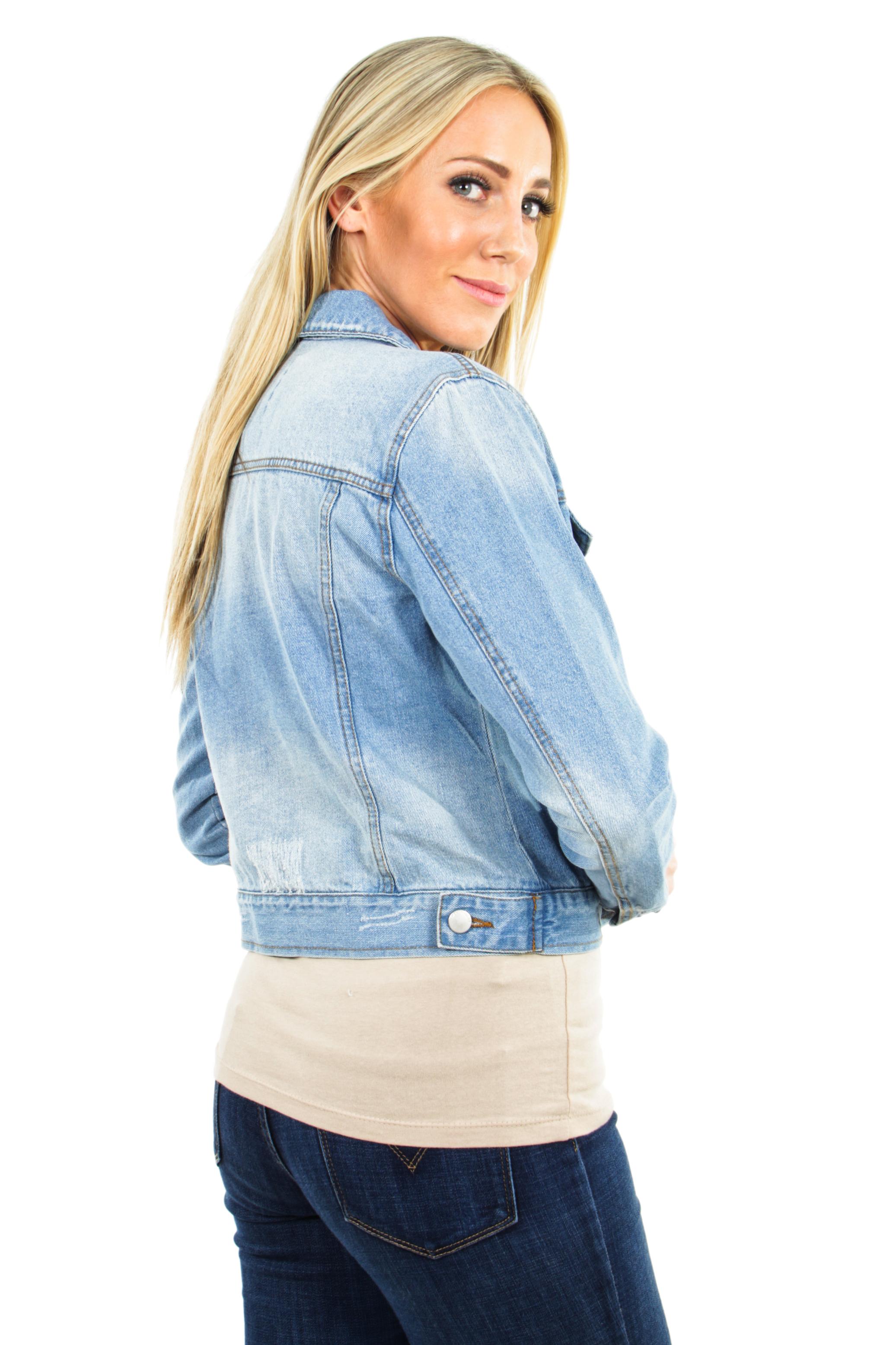 Women-039-s-Juniors-Premium-Distressed-Denim-Long-Sleeve-Jacket thumbnail 6