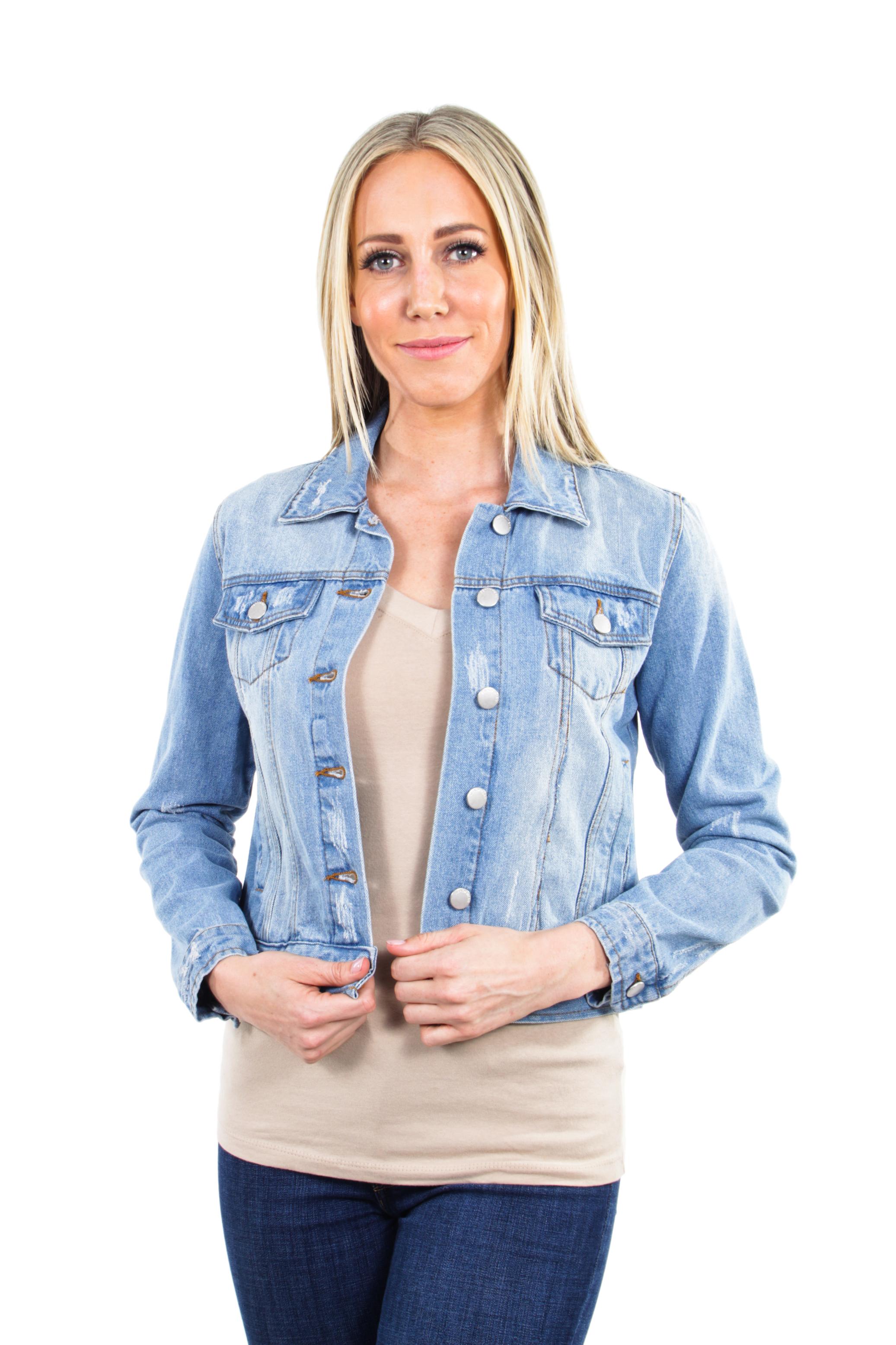 Women-039-s-Juniors-Premium-Distressed-Denim-Long-Sleeve-Jacket thumbnail 7