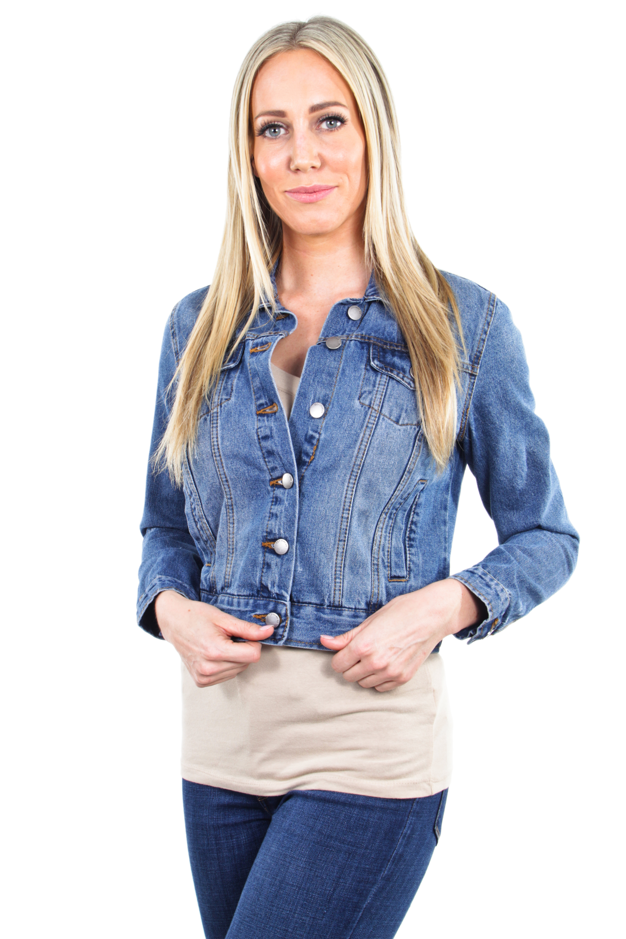 Women-039-s-Juniors-Premium-Distressed-Denim-Long-Sleeve-Jacket thumbnail 14