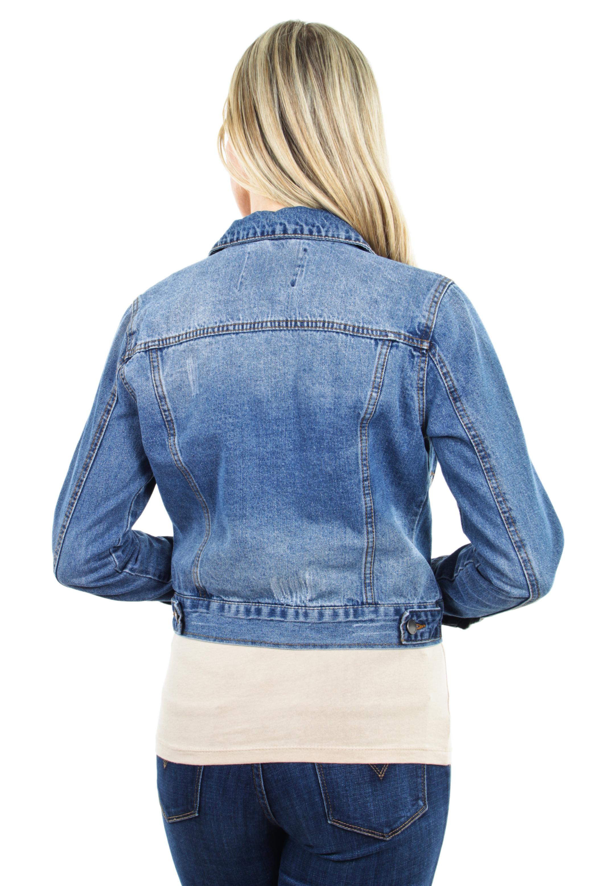 Women-039-s-Juniors-Premium-Distressed-Denim-Long-Sleeve-Jacket thumbnail 15