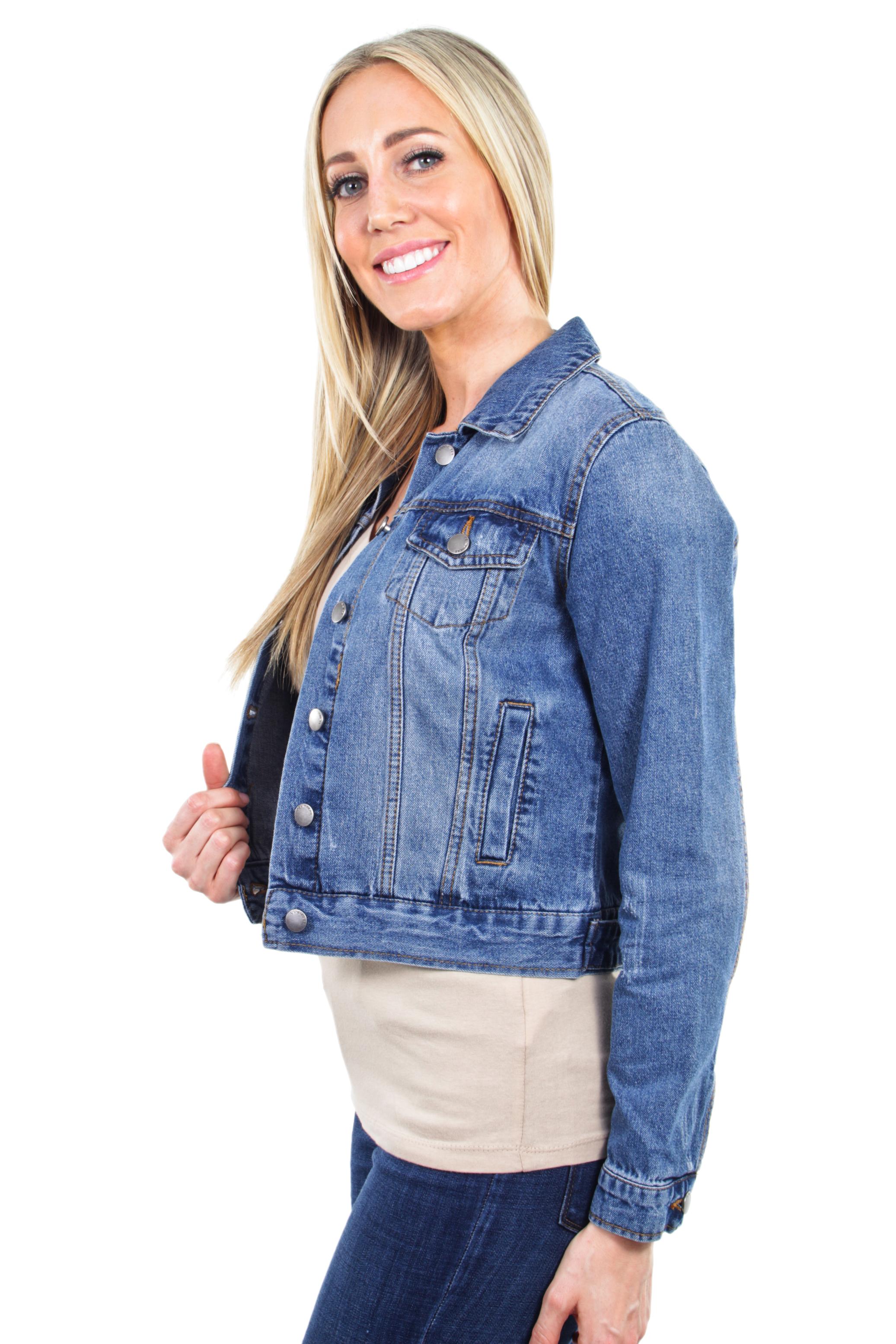 Women-039-s-Juniors-Premium-Distressed-Denim-Long-Sleeve-Jacket thumbnail 13
